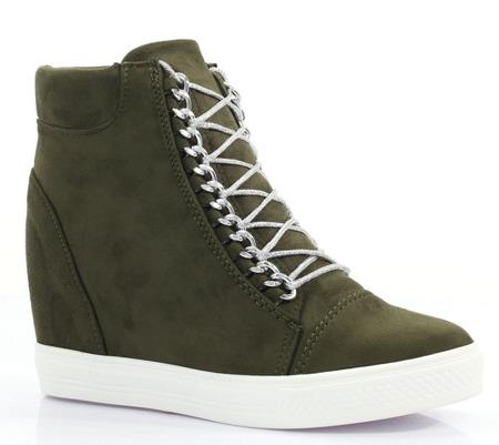 Zielone sneakersy na koturnie - Obuwie