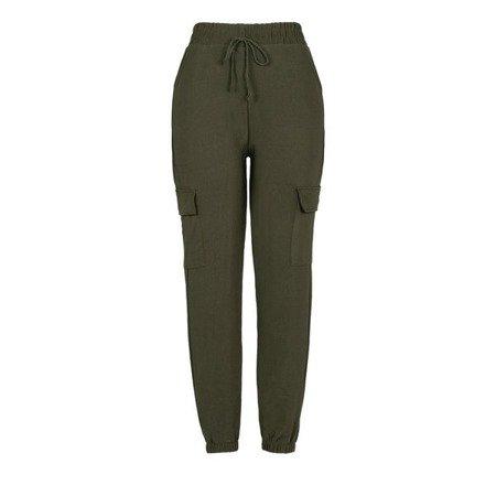 Zielone spodnie cargo z kieszeniami - Spodnie