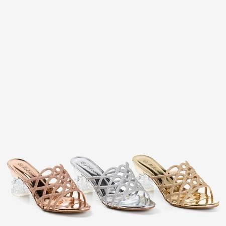Złote klapki na wyższym przezroczystym słupku Cinderella - Obuwie