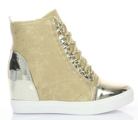Złote sneakersy na koturnie - Obuwie
