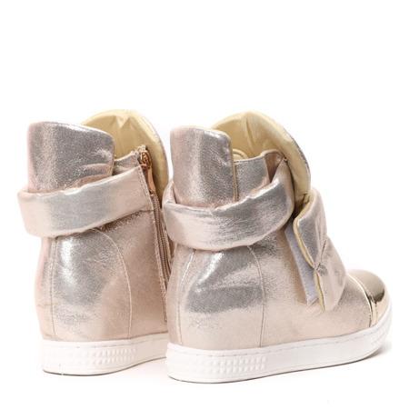 Złote sneakersy na krytym koturnie Panic - Obuwie