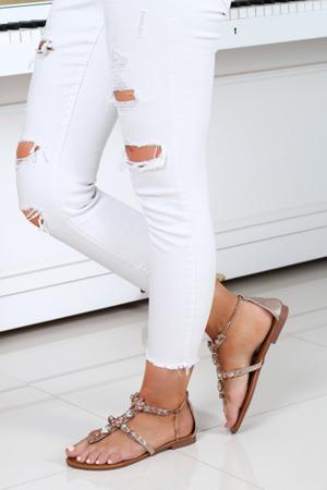 Złoto-różowe sandały z ozdobnymi kamyczkami Jazlyn- Obuwie