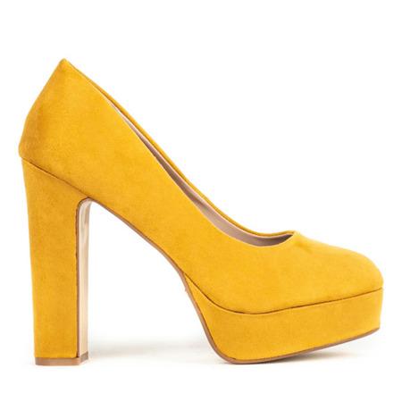 Żółte czółenka na słupku Cerelia - Obuwie