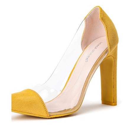 Żółte czółenka na słupku Marcelina - Obuwie