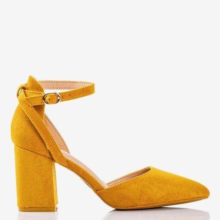 Żółte czółenka na wyższym słupku Party Time - Obuwie