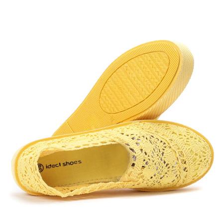 Żółte koronkowe tenisówki w stylu slip on Bari - Obuwie