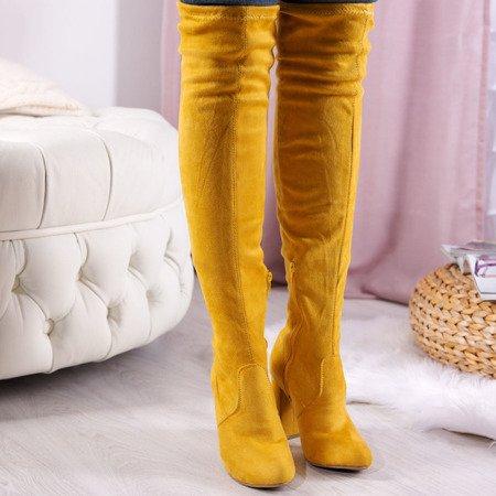 Żółte kozaki za kolano na słupku Sunni - Obuwie