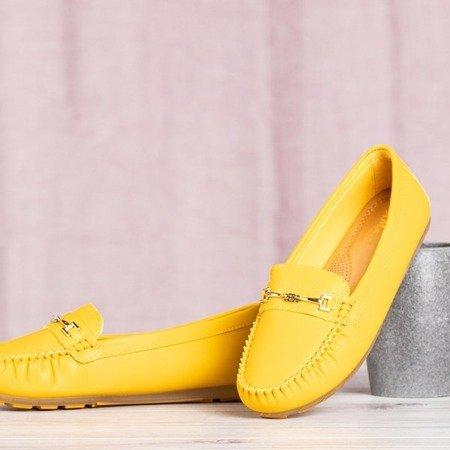 Żółte mokasyny ze złotą ozdobą Bellissa - Obuwie