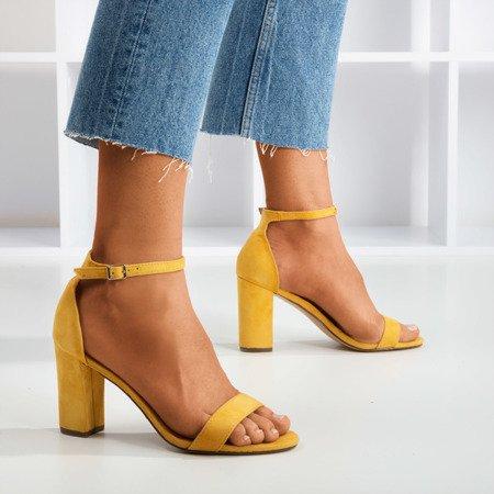 Żółte sandały damskie na słupku Sweet Honey - Obuwie