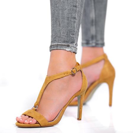 Żółte sandały na wysokiej szpilce Rosie - Obuwie