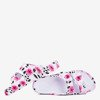 Biało - fuksjowe gumowe klapki Lito - Obuwie