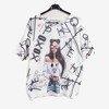 Biały damski sweter z nadrukiem - Odzież