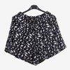 Czarne damskie krótkie spodenki w piórka - Odzież