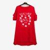 Czerwona damska tunika z napisem - Odzież