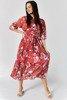 Koralowa plisowana sukienka w kwiatki - Odzież
