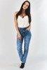 Niebieskie damskie spodnie jeansowe - Odzież
