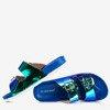 Niebieskie klapki z holograficznym wykończeniem Sumire - Obuwie